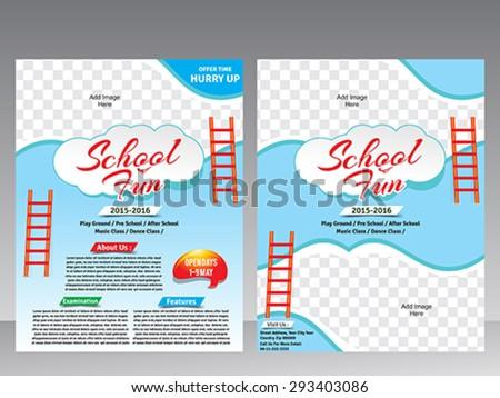 School Fun Flyer Magazine Design Template Stock Vector Royalty Free