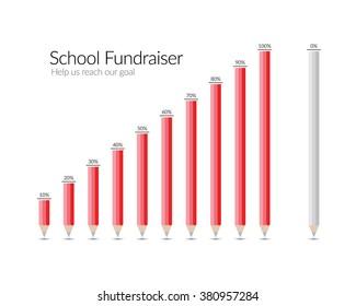 School Fundraiser Pencil Illustration