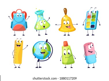 School funny office supplies characters. School stationery mascots with smile faces compass, book, marker, pen, backpack, eraser, globe, paints, calculator, bell, magnifier. Happy education supplies