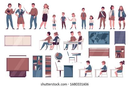 School furniture whiteboard lesson pupils schoolchildren teacher desk classroom accessories map bookshelf flat set vector illustration