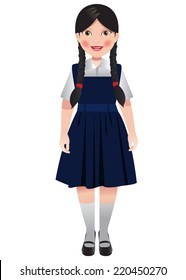 School girl in blue uniform and hair neatly plaited