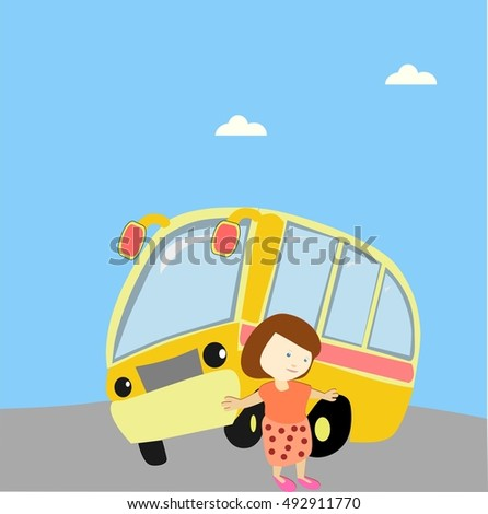 school girl coming out bus going stock vector royalty free rh shutterstock com Military Going Home Inside Bus Homes
