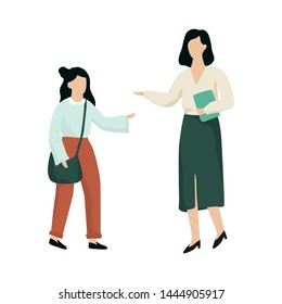 School girl standing at the teacher and ask for help. Pupil with bag talking to a woman. Isolated vector illustration in cartoon style
