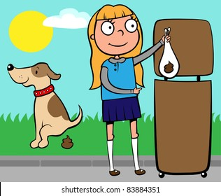 School girl throwing out dog's poo into a waste basket, vector illustration