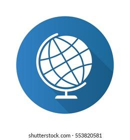School globe flat design long shadow icon. Earth spherical model. Vector silhouette symbol