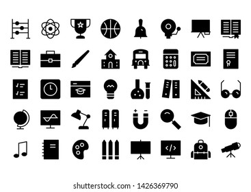 school glyph icon symbol set