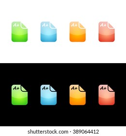 School Grades Icon Glossy Glass Icons in Four Colors