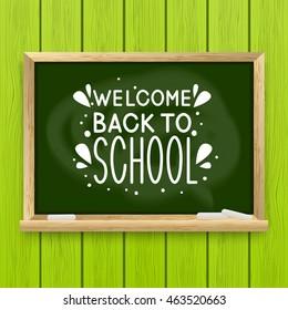 School greeting card with chalkboard