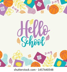 School greeting card with seamless border - ball, notepad, leaves, math equations, scribble. Perfect for educational posters