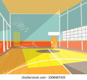 school gym, interior view. Cartoon style vector illustration