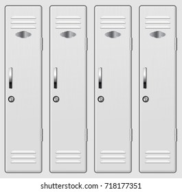 School and gym lockers. Vector 3d illustration isolated on white background