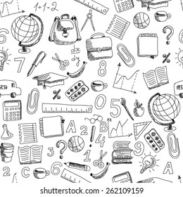 School hand drawn doodle repeated pattern on white background, sketch vector illustration.