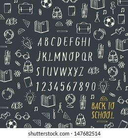 School hands draw chalk written font, vector image.