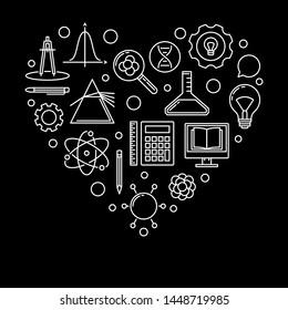 School heart vector linear illustration. I Love School concept outline banner on black background