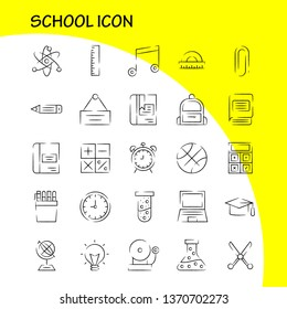 School Icon Hand Drawn Icon Pack For Designers And Developers. Icons Of Education, Globe, School, Backpack, Bag, Learn, Learning, School, Vector