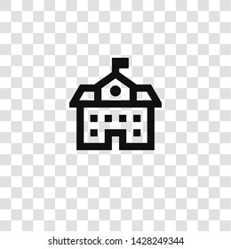school icon from miscellaneous collection for mobile concept and web apps icon. Transparent outline, thin line school icon for website design and mobile, app development