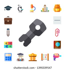 school icon set. 17 flat school icons.  Simple modern icons about  - mortarboard, briefcase, pencil, stem, calculator, substract, clip, book, microscope, professor, museum, buildings