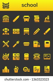 school icon set. 26 filled school icons.  Simple modern icons about  - Library, Owl, Pencil, Bus, Books, Microscope, Mad scientist, Calculator, Chalk, Pen, Lunch box, Ebook, Notebook
