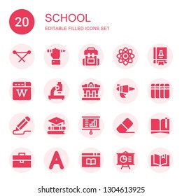school icon set. Collection of 20 filled school icons included Folding chair, Education, Backpack, Physics, Science book, Wikipedia, Microscope, Museum, Blaster, Books, Pencil