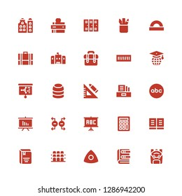 school icon set. Collection of 25 filled school icons included Backpack, Book, Chalk, Grandstand, Calculator, Blackboard, Magnet, Presentation, Abc, Literature, Set square, Training