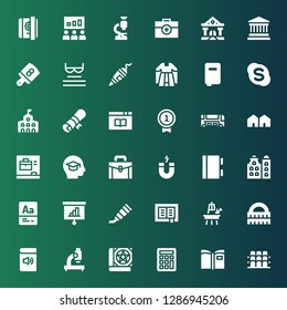 school icon set. Collection of 36 filled school icons included Grandstand, Book, Calculator, Microscope, Ruler, Easel, Paint tube, Presentation, Vocabulary, Building, Notebook