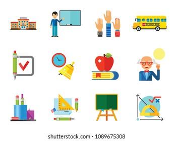School Icon Set. School Pencil School Bus Pencil Stand Stationery Math Formula Knowledge Vitruvian Man Professor Lesson School Board Teacher Students