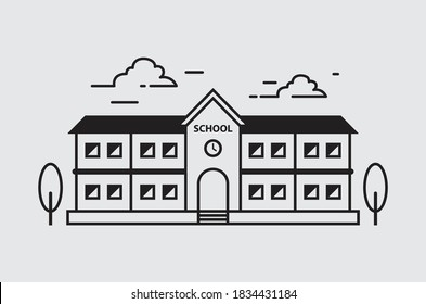 School icon vector design and logo stamp, landmark line icon. linear style sign for mobile concept and web design.