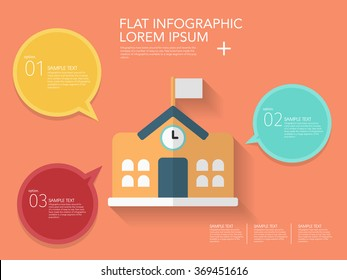 School icon , Vector flat long shadow design. Education infographic,eps10