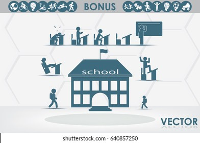 School icon vector illustration eps10. Isolated badge for website or app - stock infographics