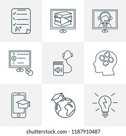 School icons line style set with mobile learning, digital library, global education and other graduate elements. Isolated vector illustration school icons.