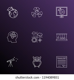 School icons line style set with video lesson, telescope, school transcript and other wisdom elements. Isolated vector illustration school icons.