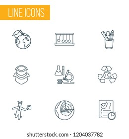 School icons line style set with global education, pencil stand, food container newton cradle elements. Isolated vector illustration school icons.