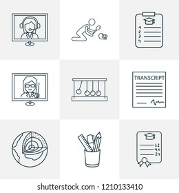 School icons line style set with gpa, school transcript, kinetics and other earth structure elements. Isolated vector illustration school icons.