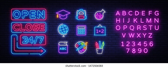 School icons set. Back to school collection neon signs. Open Close Bright sign boards, light banner. Neon isolated icon, emblem, design template. Vector Illustration