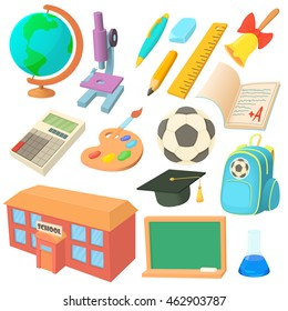 School icons set in cartoon style. Education set collection vector illustration