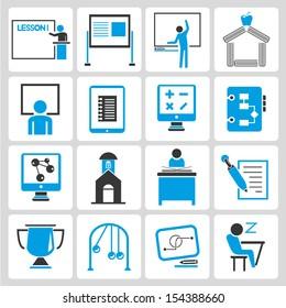 school icons set, learning icons set, blue theme