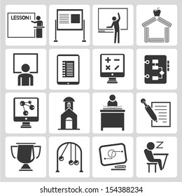 school icons set, learning icons set, vector