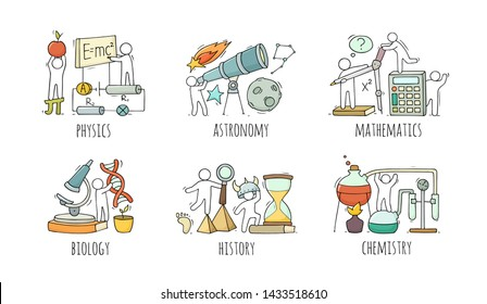 School icons set with studing little people. Doodle cute miniature of teamwork and lessons. Hand drawn cartoon vector illustration for school subject design.