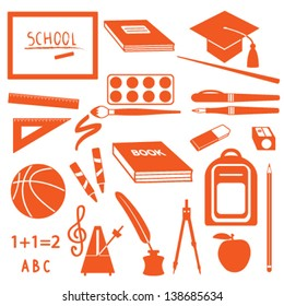 School icons silhouette set