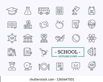 School Icons. Vector Outline Symbols for Web.