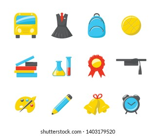 School icons. Vector set of 12 colored icons
