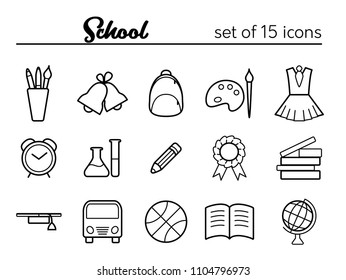 School icons. Vector set of 15 outline icons