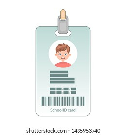 School identity card with photo. Personal identification card. Student id card, identification card.