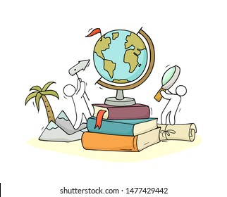 School illustration with globe, books and little people. Doodle hand drawn cartoon vector for education and geography design.