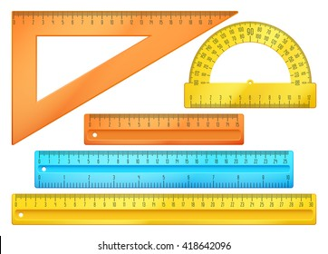 School instruments, rulers vector set. Instrument ruler for measure and tool ruler centimeter and millimeter scale illustration