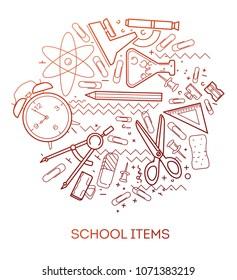 School items. Modern flat vector infographics of school items. Flat illustration of school items. Linear illustration of alarm clock, pencil, microscope, scissors, paper clips, triangular ruler