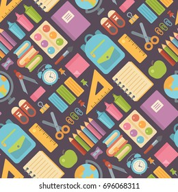 School items seamless pattern on dark background. Back to school