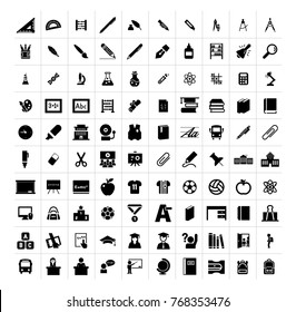 School items, stationary, lab equipment isolated flat vector icon set