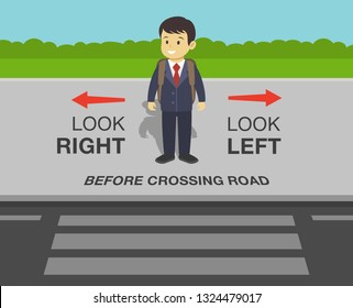 School kid is going to cross the road. Look right, look left safety rule. Flat vector illustration.