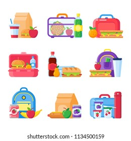 School kid lunch box. Healthy and nutritional food meals for kids breakfast in lunchbox plastic fruit bags of apples. Sandwich and snacks packed in schoolkid meal break bag vector isolated icons set